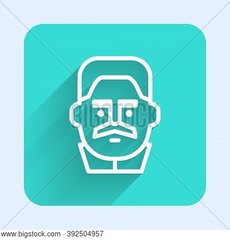 White Line Portrait Of Joseph Stalin Icon Isolated With Long Shadow. Green Square Button. Vector