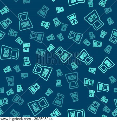 Green Line Weight Icon Isolated Seamless Pattern On Blue Background. Kilogram Weight Block For Weigh