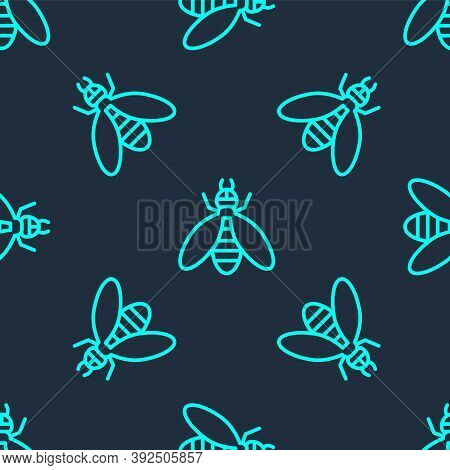 Green Line Bee Icon Isolated Seamless Pattern On Blue Background. Sweet Natural Food. Honeybee Or Ap