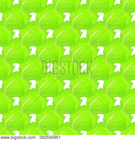 Illustration On Theme Of Bright Pattern Cabbage, Vegetable Lettuce For Seal. Vegetable Pattern Consi