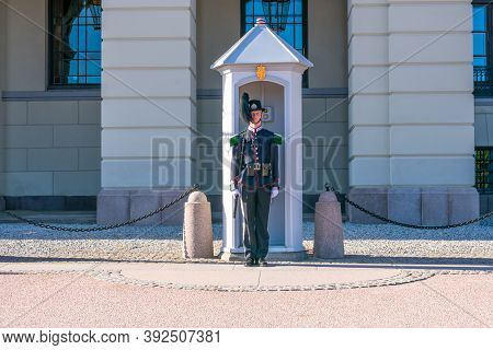 Oslo, Norway - September, 21, 2019: Royal Guard Of Norwegian Army In His Fasting Near The Royal Pala