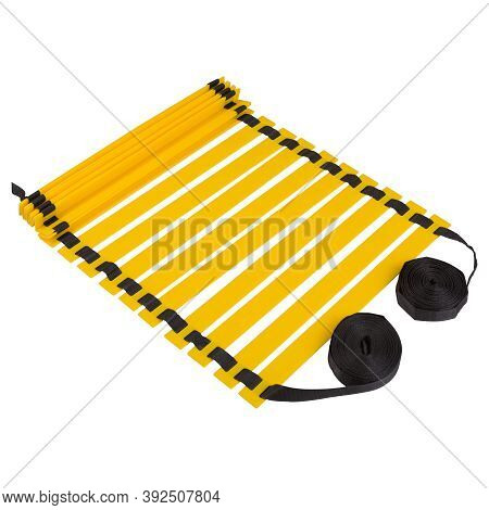 Yellow Coordination Ladder, On A White Background, Partially Unfolded