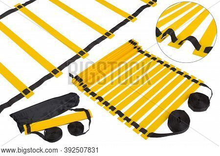 Yellow Coordination Ladder Is Presented In Different Versions, General And Close-up, As Well As Ladd
