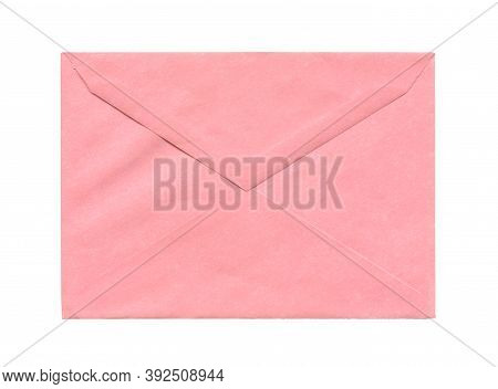 Front View Closeup Of Closed Blank Old Aged Light Pink Colored Letter Paper Envelope Isolated On Whi