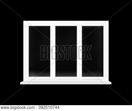Frame Of Plastic Window Isolated On Black Background. Window Frame Isolated On Dark Background. Wind