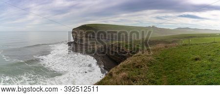 Panorama View Of The Cantabria Coast With Cliffs And Ocean