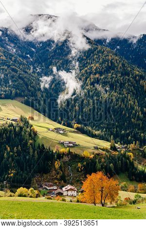 Funes Valley, Trentino Alto Adige, Italy. Autumn Landscape With Fall Colors.