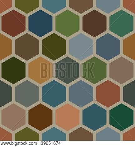 Seamless Geometry Hexagons Shapes. Earth Tone Bee Honeycomb Pattern. Abstract Background Template. V
