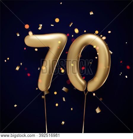 70 Sign Golden Balloons With Threads On Black Background With Confetti. Vector Festive Illustration.