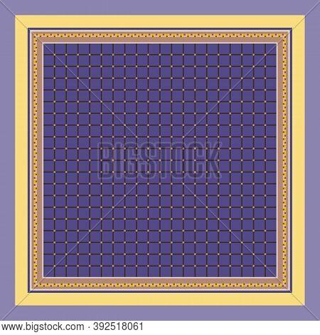 Square Pattern With Grid Ornament. Elegant Print For Napkin, Handkerchief, Doily.