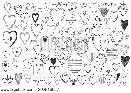 Valentine's Hearts And Objects Collection, Set Of 70+ Hand Drawn Doodle Hearts And Other Objects For