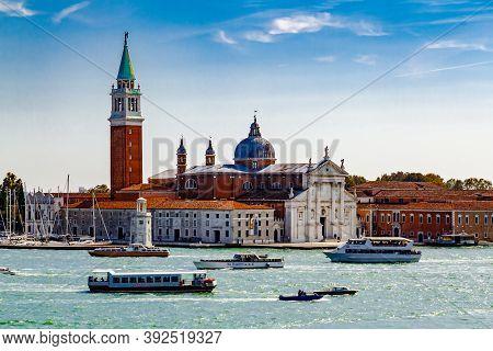 Venice, Italy - October 2017: Picturesque View On Abbey San Giorgio Maggiore (isola Di S. Giorgio Ma