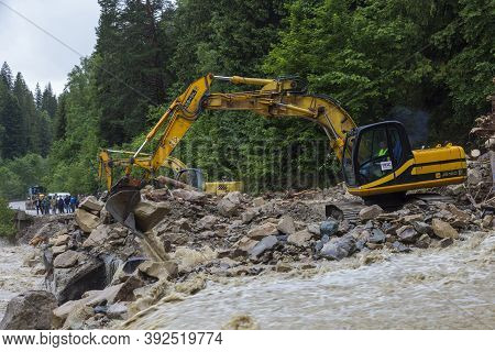06.23.2020  Yaremche  Village, Carpathian Region, Ukraine. Catastrophic Flood That Caused The Collap