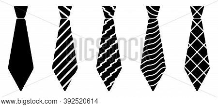 Set Of Vector Ties. Isolated Tie Symbol Flat Icon. Vector Illustration.
