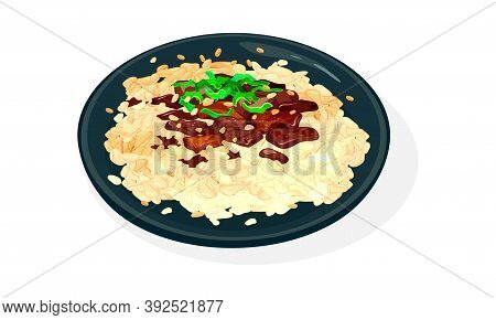 Plate Of Bulgogi Or Fire Meat. Grilled Or Fried Pre-marinated Thin Slices Of Beef Or Pork Garnished