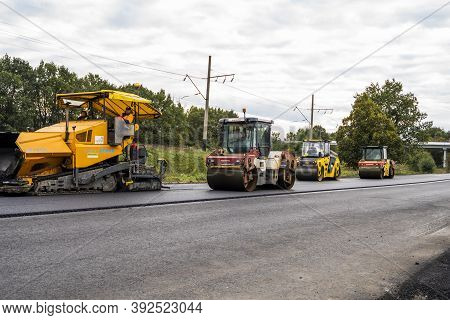 Kyiv, Ukraine - September 25, 2020: Two Heavy Asphalt Road Roller With Heavy Vibration Roller Compac