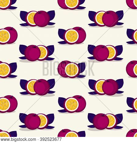 Vector Seamless Pattern With Passion Fruit. Illustration Of Tropical Plant.