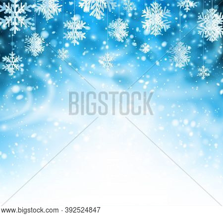 Blue Winter Background With Whirlwind And Hanging Paper Snowflakes. Space For Your Text. Vector Illu