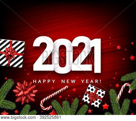 2021 Sign On Red Christmas Background. Black And White Present Boxes With Beautiful Red Bows. Spruce