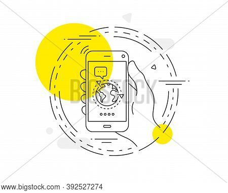 Global Business With Flags Line Icon. Mobile Phone Vector Button. International Outsourcing Sign. In
