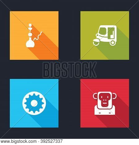 Set Hookah, Taxi Tuk Tuk, Chakra And Monkey Icon. Vector