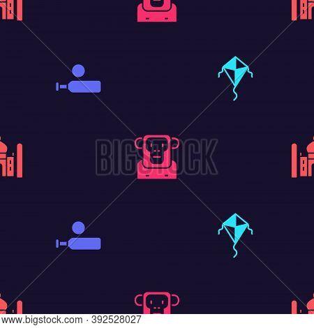 Set Kite, Wood Cricket Bat And Ball, Monkey And Taj Mahal On Seamless Pattern. Vector
