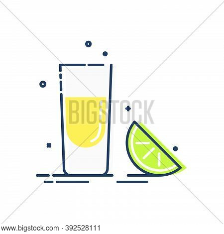 Line Art Snack Tequila Lime. Mexican Beverage. White Background. Tasty Snack. Closeup Shot. Trendy F