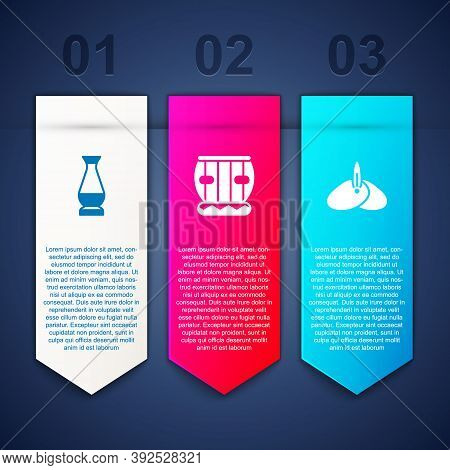 Set Indian Vase, Instrument Tabla And Headgear Turban. Business Infographic Template. Vector