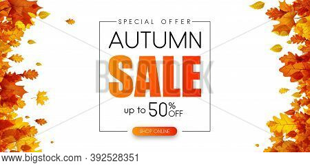 Autumn 50 Sale. Special Offer. Promotion Poster With Orange Leaves. Shop Online. Vector Background.