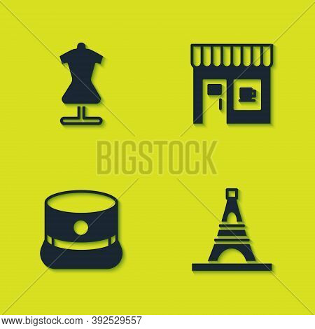 Set Mannequin, Eiffel Tower, Kepi And Coffee Shop Icon. Vector