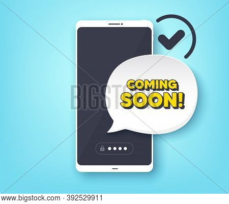 Coming Soon. Mobile Phone With Alert Notification Message. Promotion Banner Sign. New Product Releas