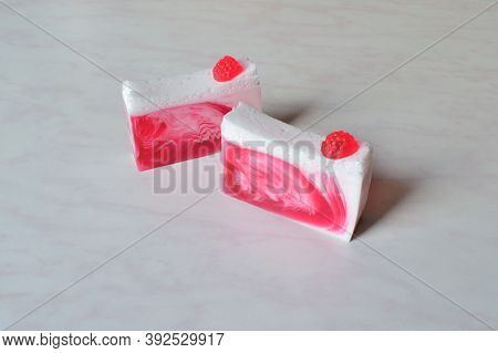 Two Pieces Of Beautiful Handmade Raspberry Soap, Decorated With Raspberries