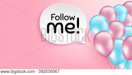 Follow Me Symbol. Pink Balloon Vector Background. Special Offer Sign. Super Offer. Birthday Balloon