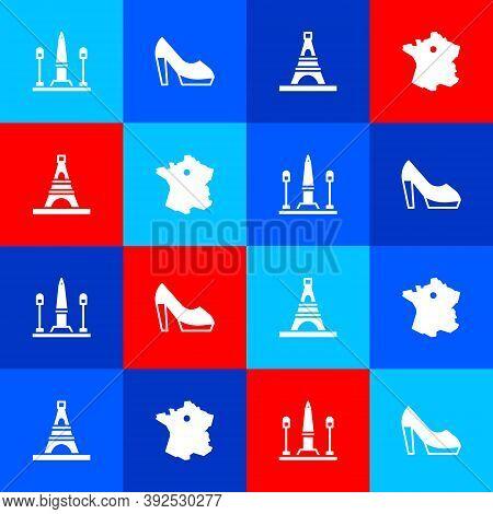 Set Place De La Concorde, Woman Shoe, Eiffel Tower And Map Of France Icon. Vector