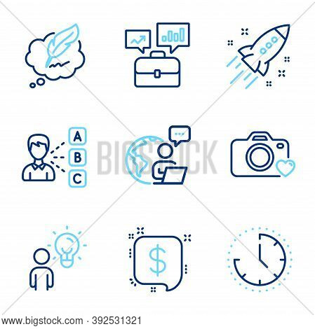 Education Icons Set. Included Icon As Time, Business Portfolio, Group People Signs. Opinion, Photo C