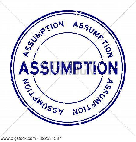 Grunge Blue Assumption Word Round Rubber Seal Stamp On White Background