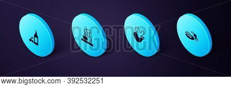 Set Isometric Churros And Chocolate, Spanish Wineskin, Cook And Bottle Of Olive Oil Icon. Vector