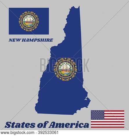 Map Outline And Flag Of New Hampshire. The State Seal Of New Hampshire On A Blue Field Surrounded By