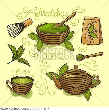Vector Set Of Matcha Tea Products. Matcha Powder, Mochi, Teapot, Spoon, Tea Leaves. Color Illustrati