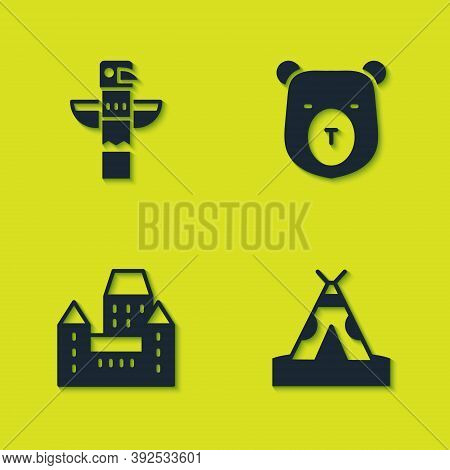 Set Canadian Totem Pole, Indian Teepee Or Wigwam, Chateau Frontenac Hotel And Bear Head Icon. Vector