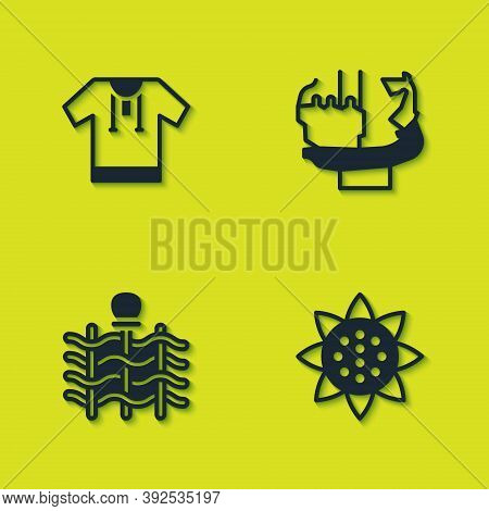Set Embroidered Shirt, Sunflower, Wicker Fence And Monument To Founders Of Kiev Icon. Vector