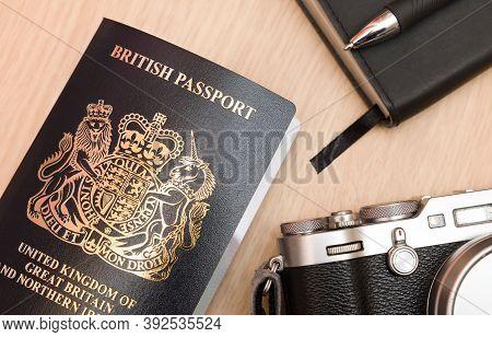 Buckingham, Uk - September 24, 2020. New British Passport Cover, Flat Lay Post-brexit Uk Passport Wi