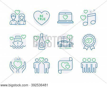 Love Icons Set. Included Icon As Love Award, Love Letter, Be True Signs. Hold Heart, Friends Couple,