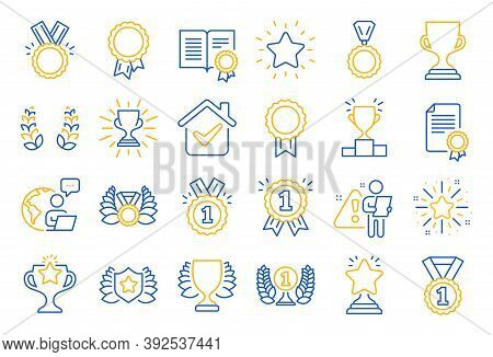 Award Line Icons. Set Of Winner Medal, Victory Cup And Laurel Wreath Award Icons. Reward, Certificat