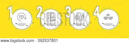 Engineering, Parcel Checklist And Return Package Line Icons Set. Timeline Process Infograph. Parcel