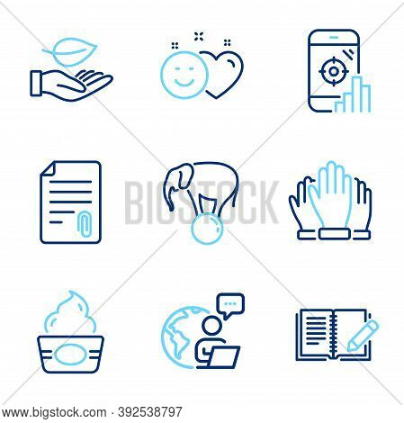 Business Icons Set. Included Icon As Vote, Attachment, Leaf Signs. Ice Cream, Feedback, Smile Symbol