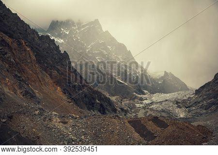 Autumn In Caucasus Mountains, Chalaadi Glacier, Mestia, Svaneti Region In Georgia, Caucasus.