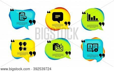 Accounting Report, Histogram And Medical Prescription Icons Simple Set. Speech Bubble With Quotes. T
