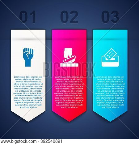 Set Raised Hand With Clenched Fist, Burning Car And Vote Box. Business Infographic Template. Vector