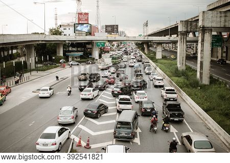 Bangkok, Thailand -august 14,2017 : Transport Environmental Pollution, Traffic Jam In Rush Hour In B